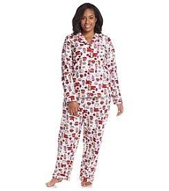 Intimate Essentials® Printed Notch Collar Pajama Set