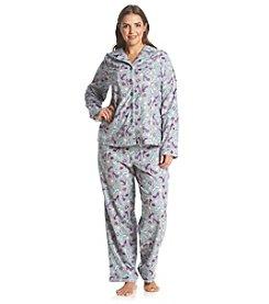Intimate Essentials® Plus Size Printed Notch Collar Pajama Set