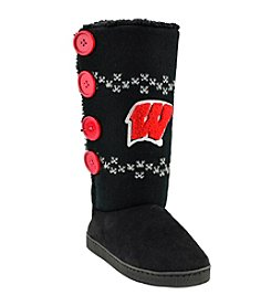 College Editions NCAA® Wisconsin Badgers Women's Knit Button Boot Slippers