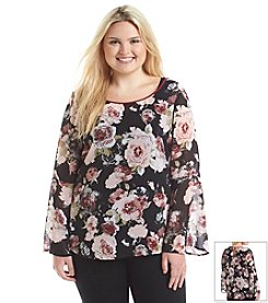 Eyeshadow® Plus Size Floral Woven Blouse