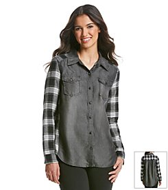 Kensie Jeans Plaid Denim Shirt