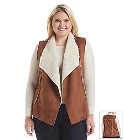 Wallflower® Plus Size Suede Sherpa Vest