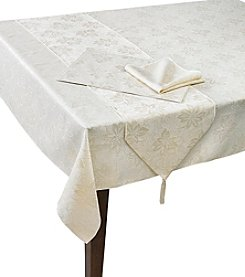 LivingQuarters Lurex Poinsettia Table Linens