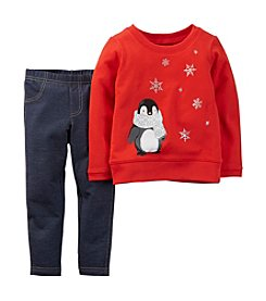Carter's® Baby Girls' 3-24M Two-Piece Penguin Top & Pant Set