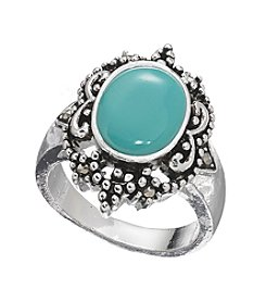 Marsala Silver Plated Simulated Turquoise Ring