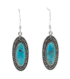Marsala Silver Plated Marcasite Turquoise Oval Drop Earrings