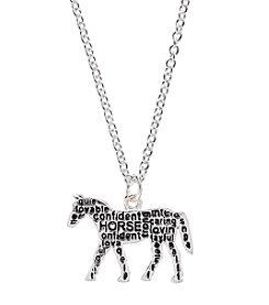 Marsala Silver-Plated Horse Graffiti Pendant