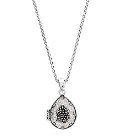 Marsala Silver-Plated Marcasite Teardrop Locket Pendant