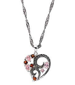 Marsala Silver-Plated Marcasite Pink Heart Multi Pendant