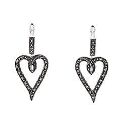 Marsala Silver-Plated Marcasite Black Heart Drop Earrings