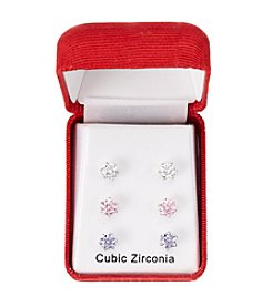 Holiday Cubic Zirconia Silvertone Earrings Set of Three Pair