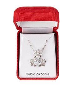 Holiday Cubic Zirconia Silvertone Frog Pendant