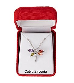 Holiday Cubic Zirconia Silvertone Dragonfly Pendant