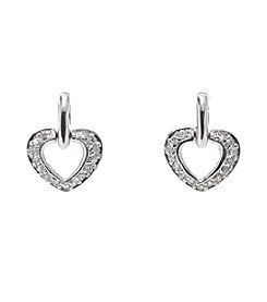 Holiday Cubic Zirconia Silvertone Heart Earrings