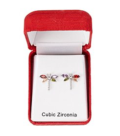Holiday Cubic Zirconia Silvertone Dragonfly Earrings
