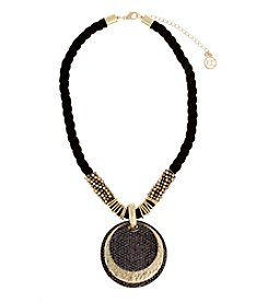 Erica Lyons® Hematite And Goldtone All That Glitters Layered Disks Pendant Necklace