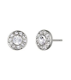 Givenchy® Silvertone Pave Stud Earrings