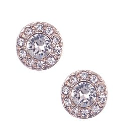 Givenchy® Rose Goldtone Pave Stud Earrings