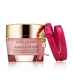 Estee Lauder Breast Cancer Awareness Resilience Lift Night Firming/Sculpting Creme With Pink Ribbon Bracelet