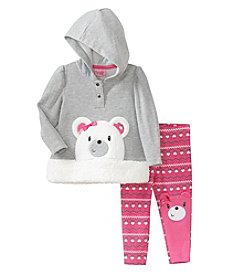 Nannette® Baby Girls' 12-24M Two-Piece Fair Isle Bear Hoodie Set