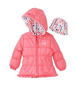 London Fog® Girls' 2T-6X Solid Ruffle Hem Puffer Jacket