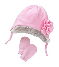 Mambo® Baby Girls' Fleece Flower Hat And Mittens Set