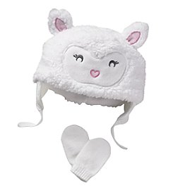 Mambo® Baby Girls' Lamb Hat And Mitten Set
