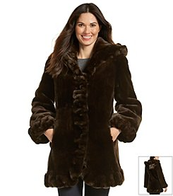 Gallery® Hooded Ruffle Front Coat