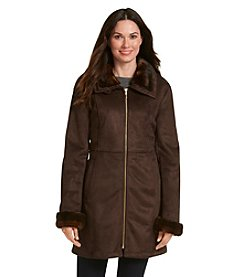 1 Madison® Zipfront Coat With Faux Fur Collar