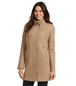 Ellen Tracy® Single-Breasted Stand Collar Twill Coat