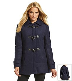 Calvin Klein Hooded Boucle Toggle Coat