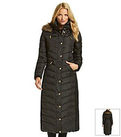 MICHAEL Michael Kors® Full Length Down Coat With Faux Fur Trim