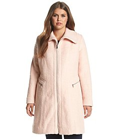 Jessica Simpson Plus Size Funnel Neck Boucle Coat