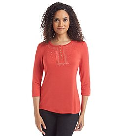 Laura Ashley® Petites' Solid Snap Henley
