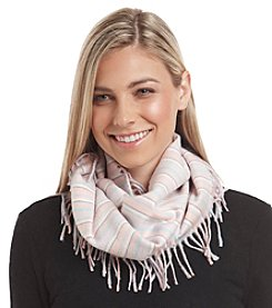 V. Fraas Pastel Stripes Cashmink® Side Fringe Loop Scarf