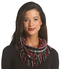 V. Fraas Grunge Plaid Cashmink Side Fringe Loop Scarf