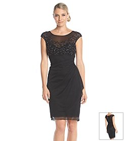 Xscape Beaded Drape Dress