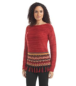Ruby Rd. Global Caravan Marled Fringe Sweater