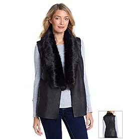 Nine West Jeans Faux Fur Trim Vest