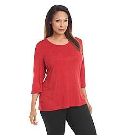 Laura Ashley® Plus Size Geo Studded Top