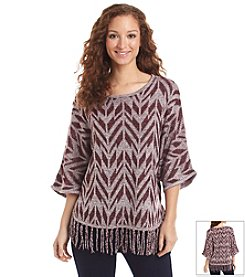 Relativity® Chevron Fringe Sweater