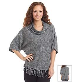 Relativity® Fringe Cowl Neck Dolman Sweater