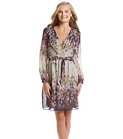 Jessica Simpson Floral Chiffon Fit And Flare Dress