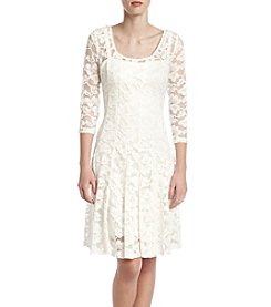 Chetta B. Lace Seamed Dress
