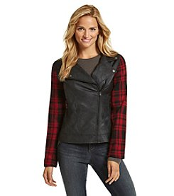 Ruff Hewn Plaid Blocked Moto Jacket