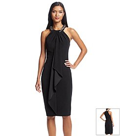 S.L. Fashions Beaded Neckline Crepe Dress