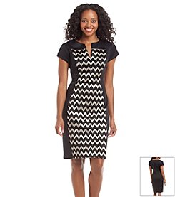 Connected® Petites' Chevron Scuba Dress