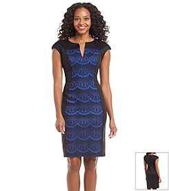 Connected® Petites' Patterned Scuba Dress