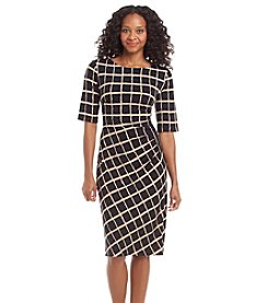 Connected® Petites' Grided Day Dress