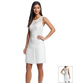 Connected® Illusion Neck Lace Chiffon Dress